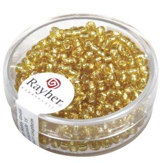 Rocailles, 2,6 mm , mit Silbereinzug, gold, Dose 16g