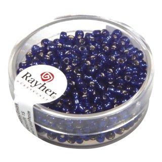 Rocailles, 2,6 mm , mit Silbereinzug, dunkelblau, Dose 16g