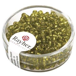 Rocailles, 2,6 mm , mit Silbereinzug, hellgrün, Dose 16g