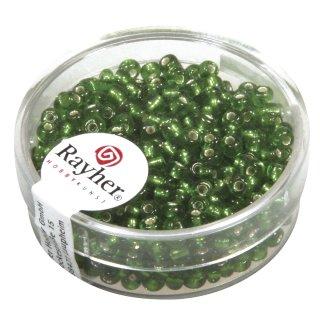 Rocailles, 2,6 mm , mit Silbereinzug, grün, Dose 16g