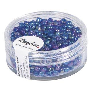 Rocailles, 2,6 mm , transparent gelüstert dunkelblau, Dose 17g
