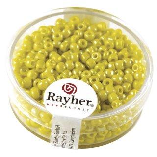 Rocailles, 2,6 mm , opak gelüstert, gelb, Dose 17g