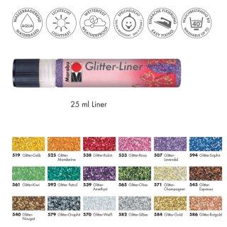 Marabu Glitter-Liner, Glitter-Gelb 519, 25 ml