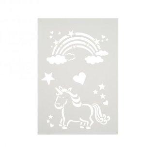 Stencil Regenbogen und Einhorn DIN A4 6-teilig