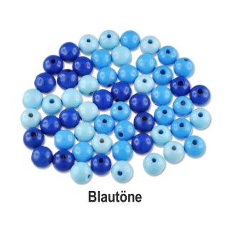 Holzperlen, ø 10mm, 56 Stück Blautöne