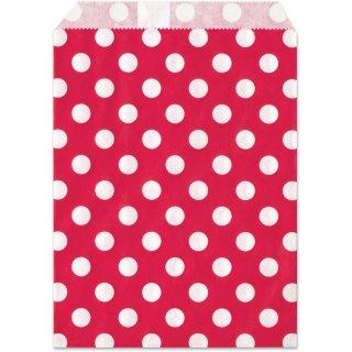 Geschenktüte, rot, Punkte, 13x16,5cm, 25 Stück