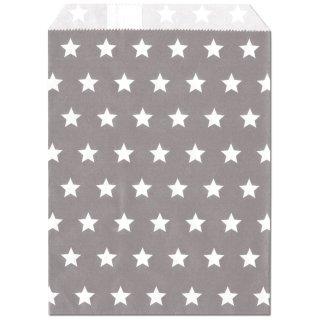Geschenktüten,silbergrau, Sterne 13x16,5cm, 25 Stk