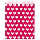 Geschenktüte, rot, Herzen weiß 13x16,5cm, 25 Stk