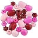 Holzperlen -Farbmischung, Pinktöne, 30 Stück