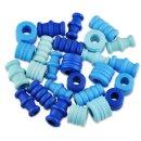 Holzperlen -Farbmischung, Blautöne, 28 Stück