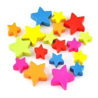 Holz-Sterne, 12 kleine & 6 große, 6 Farben