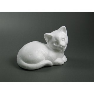 Styropor-Katze liegend, 12,5x10cm