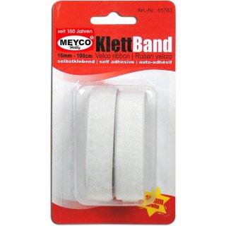 Klettband, weiß, selbstklebend, 16 mm, 100 cm