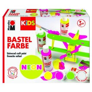 Marabu KiDS Bastelfarbe NEON, 4er-Sortierung, 4 x 80 ml
