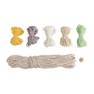 BP: Regenbogen aus Makramee Kordel+Wolle, bunt, ca. 25x20 cm, mit Anleitung, Box 1Stück