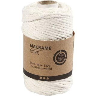 Macramé-Kordel, L: 55 m, D: 4 mm, Naturweiß, 330 g/ 1 Rolle