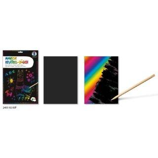Magische Kratzel-Bögen 250 g/m2  DIN A5, 10 Blatt, mit Regenbogeneffekt